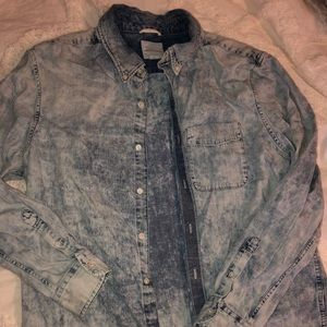 American Eagle Men's XL Acid Washed Button Up